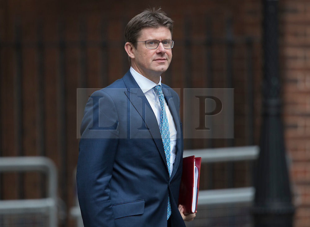 © Licensed to London News Pictures. 14/10/2016. London, UK. Greg Clark, Secretary of State for Business, Energy and Industrial Strategy arrives in Downing Street ahead of a meeting between Nissan Chairman and CEO Carlos Ghosn and Prime Minister Theresa May. Mr Ghosn has stated that he would like a government pledge to  compensate Nissan for any tariffs that may be imposed after the UK leaves the EU. Photo credit: Peter Macdiarmid/LNP