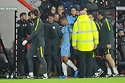 Gabriel Jesus (33) of Manchester City goes off injured and is replaced by Sergio Aguero (10) of Manchester City during the Premier League match between Bournemouth and Manchester City at the Vitality Stadium, Bournemouth, England on 13 February 2017. Photo by Graham Hunt.