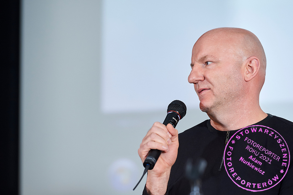 Warsaw, Poland - 2017 April 07: Pawel Jurek - scriptwriter and athlete speaks while The Day of Health - science conference in the National Library on April 07, 2017 in Warsaw, Poland.<br /> <br /> Mandatory credit:<br /> Photo by © © Adam Nurkiewicz / Mediasport / Mediasport<br /> <br /> Picture also available in RAW (NEF) or TIFF format on special request.<br /> <br /> Any editorial, commercial or promotional use requires written permission from the author of image.<br /> <br /> Adam Nurkiewicz declares that he has no rights to the image of people at the photographs of his authorship.