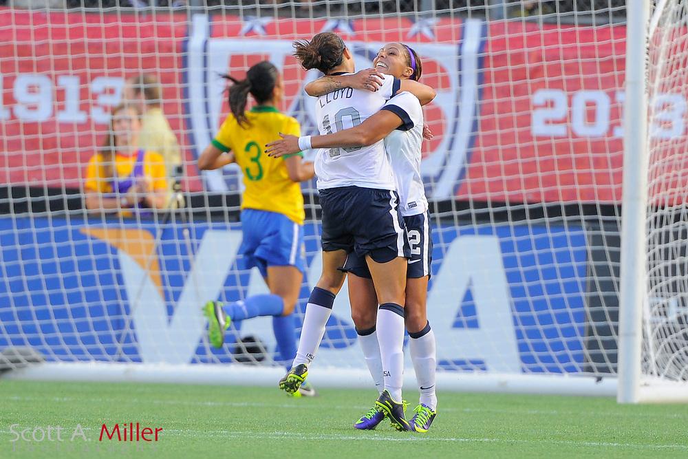 U.S. forward Sydney Leroux (2) celebrates scoring her second during an international friendly against Brazil at the Florida Citrus Bowl on Nov. 10, 2013 in Orlando, Florida. <br /> <br /> &copy;2013 Scott A. Miller