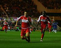 Photo: Andrew Unwin.<br /> Middlesbrough v Chelsea. The Barclays Premiership. 23/08/2006.<br /> Middlesbrough's Mark Viduka (L) celebrates his winning goal.