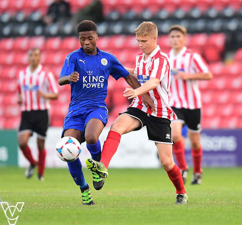 Leicester City&rsquo;s Khanya Leshabela vies for possession with Lincoln City&rsquo;s Archie Moyses<br /> <br /> Lincoln City under 18s Vs Leicester City under 18s at Sincil Bank, Lincoln.<br /> <br /> Picture: Chris Vaughan/Chris Vaughan Photography<br /> <br /> Date: July 28, 2016