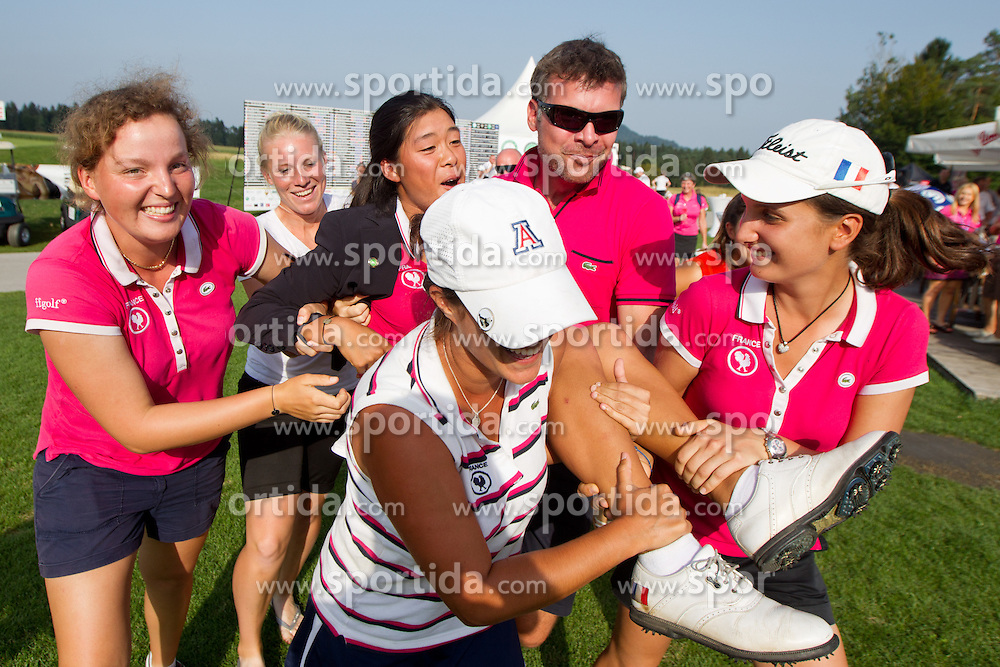 Winner CELINE BOUTIER of France thrown in whirlpool during celebration ceremony after golf competition in final day of International European Ladies Amateur Championship 2012, on July 28, 2012 in Smlednik at Ljubljana, Slovenia. (Photo by Matic Klansek Velej / Sportida.com)