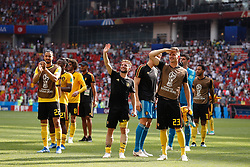 June 23, 2018 - Moscou, Rússia - MOSCOU, MO - 23.06.2018: BÉLGICA Y TÚNEZ - Belgian players are thankful for their fans after a match between Belgium and Tunisia for the second round of group G of the 2018 World Cup, held at the Otkrytie Arena in Moscow, Russia. (Credit Image: © Marcelo Machado De Melo/Fotoarena via ZUMA Press)