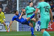 Joe Rafferty wins the ball during the The FA Cup 1st round match between Rochdale and Gateshead at Spotland, Rochdale, England on 10 November 2018.