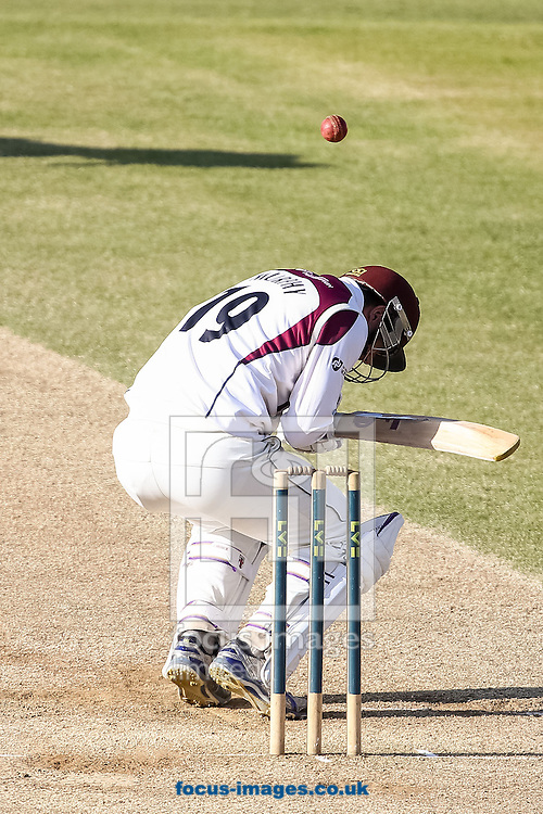 David Murphy of Northamptonshire County Cricket Club ducks under a high one during day 4 of the LV County Championship Div One match at the County Ground, Northampton<br /> Picture by Andy Kearns/Focus Images Ltd 0781 864 4264<br /> 16/04/2014