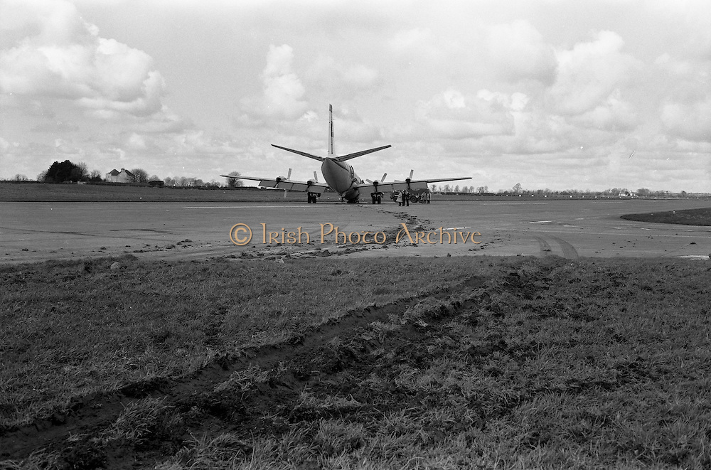 29/03/1963<br /> 03/29/1963<br /> 29 March 1963<br /> B.E.A. Aircrash at Dublin Airport. The crashed BEA Vanguard G-APEJ that carried 43 passengers and seven crew from London to Dublin ploughed its way through half a mile of grassland before returning to the concrete runway, when its front undercarriage appeared to have failed on arrival at Dublin Airport. There were no fatalities in the accident. The path of the aircraft can be seen in the trail of earth across the runway. Note the Airport Fire Service vehicle a Thorneycroft Sun Foam Tender.