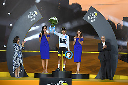 July 28, 2019, Paris, France: Colombian Egan Bernal of Team Ineos celebrates in the white jersey for best young rider after the final stage of the 106th edition of the Tour de France cycling race, from Rambouillet to Paris Champs-Elysees (128km), France, Sunday 28 July 2019. This year's Tour de France starts in Brussels and takes place from July 6th to July 28th. (Credit Image: © David Stockman/Belga via ZUMA Press)