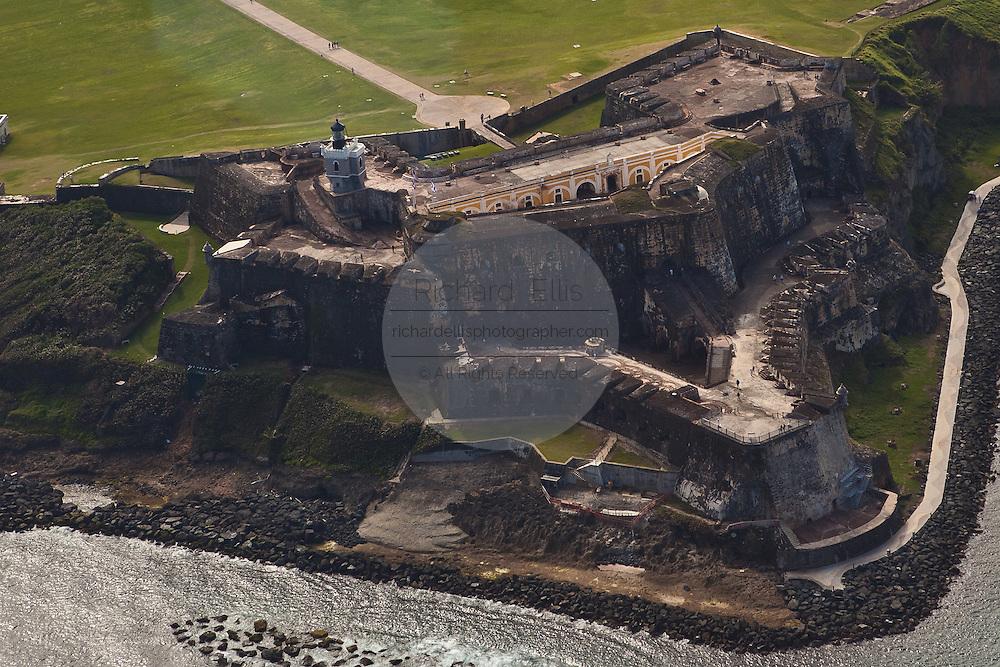 Aerial of Fort San Felipe del Morro San Juan, Puerto Rico.