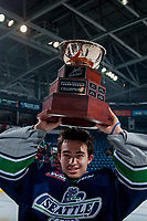 KELOWNA, CANADA - APRIL 30: Carl Stankowski #1 of the Seattle Thunderbirds hoists the cup over his head on April 30, 2017 at Prospera Place in Kelowna, British Columbia, Canada.  (Photo by Marissa Baecker/Shoot the Breeze)  *** Local Caption ***