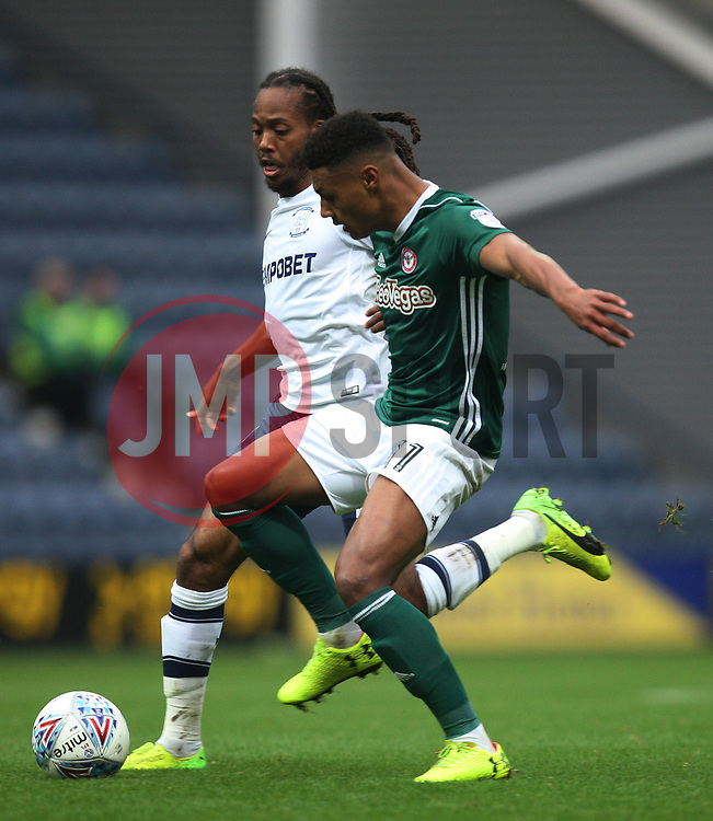 Daniel Johnson of Preston North End (L) and Ollie Watkins of Brentford in action - Mandatory by-line: Jack Phillips/JMP - 28/10/2017 - FOOTBALL - Deepdale - Preston, England - Preston North End v Brentford - Football League Championship