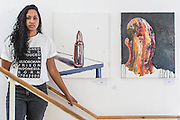 Here his cousin with paintings made after his final appeal failed. Myuran Sukumaran - launch of a new exhibition of work created during his 10 years on death row. The Australian artist is set to be executed in Indonesia next month. Organised by his cousin Niranjela Karunatilake (pictured in a t-shirt made in his prison), the showcase has been put on to draw attention to his case, and to mark Sukumaran's 34th birthday on Friday April 17. Human Rights Action Centre, London.