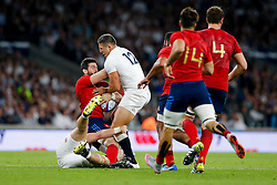 France replacement Loann Goujon is tackled by England Inside Centre Sam Burgess - Mandatory byline: Rogan Thomson/JMP - 07966 386802 - 15/08/2015 - RUGBY UNION - Twickenham Stadium - London, England - England v France - QBE Internationals 2015.