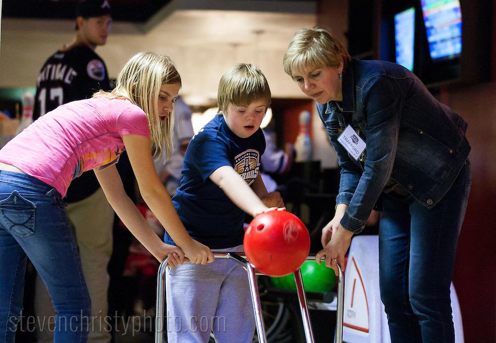 January 16, 2013: The Oklahoma City Barons bowl with the Barons Buddies at Red Pin Bowling in Oklahoma City, Oklahoma.