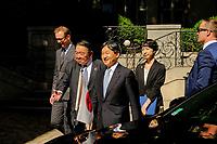 Son Altesse Imperiale le Prince Heritier du Japon est reçu par le prefet Bouillon et Georges Kepenekian au musee des tissus de Lyon.