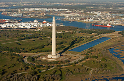 Aerial view of the San Jacinto Monument and Port of Houston