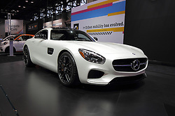11 February 2016: Mercedes Benz GT S V8 BiTurbo.<br /> <br /> First staged in 1901, the Chicago Auto Show is the largest auto show in North America and has been held more times than any other auto exposition on the continent.  It has been  presented by the Chicago Automobile Trade Association (CATA) since 1935.  It is held at McCormick Place, Chicago Illinois<br /> #CAS16