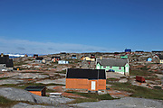 colourful wooden houses on the shores of Disko Bay, Western Greenland