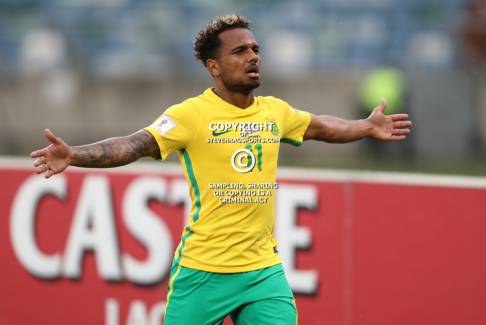 Kermit Erasmus of Bafana Bafana South Africa celebrates scoring his goal during the match between Bafana Bafana South Africa and Guinea-Bissau at Moses Mabhida Stadium in Durban South Africa,25 March 2017 (Steve Haag)