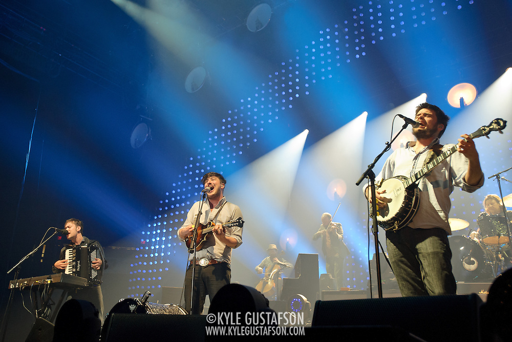 FAIRFAX, VA - February 13th,  2013 - Fresh off their Grammy win for 2013 Album of the Year, Ben Lovett, Marcus Mumford and Winston Marshall of British folk outfit Mumford & Sons begin a two night stand at the Patriot Center in Fairfax, VA. Babel, the band's sophomore album, debuted at number one in both the UK and US album charts. (Photo by Kyle Gustafson/For The Washington Post)