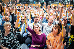 © Licensed to London News Pictures . 15/09/2019. Bournemouth, UK. Lib Dem members , including leader JO SWINSON and CHUKA UMUNNA , vote to reject an amendment to a motion to revoke article 50 should they form the next government. The Liberal Democrat Party Conference at the Bournemouth International Centre . Photo credit: Joel Goodman/LNP