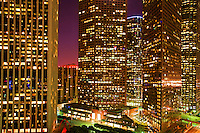 Downtown Skyscrapers at Night.  Los Angeles, California.