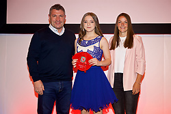 NEWPORT, WALES - Saturday, May 19, 2018: Cerys Jones is presented with her Under-16's cap by Osian Roberts (left) and Lauren Dykes (right) during the Football Association of Wales Under-16's Caps Presentation at the Celtic Manor Resort. (Pic by David Rawcliffe/Propaganda)