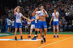 12-05-2019 NED: Abiant Lycurgus - Achterhoek Orion, Groningen<br /> Final Round 5 of 5 Eredivisie volleyball, Orion wins Dutch title after thriller against Lycurgus 3-2 / Auke van de Kamp #5 of Lycurgus , Stijn Held #3 of Lycurgus , Dennis Borst #18 of Lycurgus , Wytze Kooistra #2 of Lycurgus