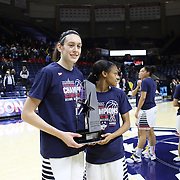 Breanna Stewart, UConn, after UConn clinched the American regular season title during the UConn Vs SMU Women's College Basketball game at Gampel Pavilion, Storrs, Conn. 24th February 2016. Photo Tim Clayton