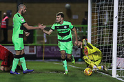 Forest Green Rovers Christian Doidge(9) scores a goal 2-0 and is congratulated by Forest Green Rovers Farrend Rawson(6) during the EFL Sky Bet League 2 match between Forest Green Rovers and Grimsby Town FC at the New Lawn, Forest Green, United Kingdom on 22 January 2019.