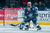 KELOWNA, CANADA - APRIL 26: Cal Foote #25 of the Kelowna Rockets back checks Mathew Barzal #13 of the Seattle Thunderbirds on April 26, 2017 at Prospera Place in Kelowna, British Columbia, Canada.  (Photo by Marissa Baecker/Shoot the Breeze)  *** Local Caption ***