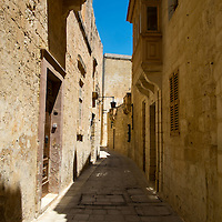 Narrow streets of Mdina Rabat,<br />Mdina,<br />Malta, Europe.<br />Summer 2016.