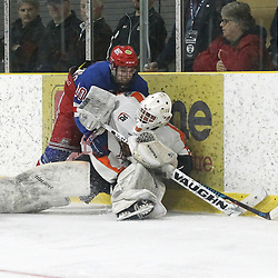 COCHRANE, ON - MAY 4: Josh Nixon #10 of the Oakville Blades collides with Nicholas Tallarico #29 of the Hearst Lumberjacks behind the net during the third period on May 4, 2019 at Tim Horton Events Centre in Cochrane, Ontario, Canada.<br /> (Photo by Tim Bates / OJHL Images)