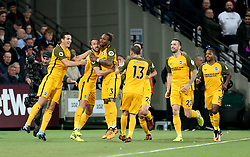 Brighton & Hove Albion's Glenn Murray (second left) celebrates scoring his side's first goal of the game
