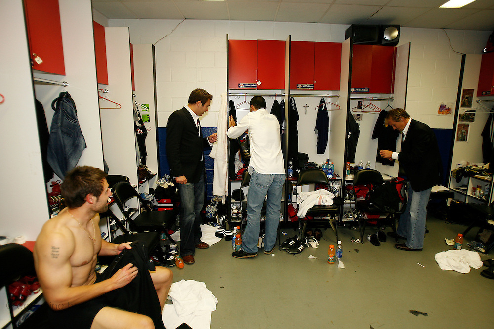 Saturday October 14th 2006. .Giants Stadium, East Rutherford, New Jersey. United States..Red Bulls French soccer player Youri Djorkaeff in the locker room after a game against Kansas City at the Giants Stadium. This game could have been be his last one as a professional player if the Red Bulls didn't win 3-2.
