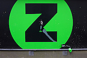 The torn letter Z outside the now-closed music and DVD shop Zavvi, seen in Bradford city centre, Yorkshire - a victim of the UK's economic recession.