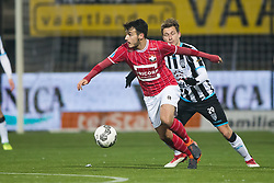 (L-R) Pedro Chirivella of Willem II, Reuven Niemeijer of Heracles Almelo during the Dutch Eredivisie match between Heracles Almelo and Willem II Tilburg at Polman stadium on February 10, 2018 in Almelo, The Netherlands