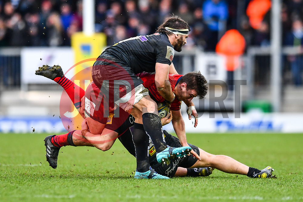 Sam Lewis of Worcester Warriors is tackled by Luke Cowan-Dickie and Don Armand of Exeter Chiefs - Mandatory by-line: Craig Thomas/JMP - 10/02/2018 - RUGBY - Sandy Park Stadium - Exeter, England - Exeter Chiefs v Worcester Warriors - Aviva Premiership