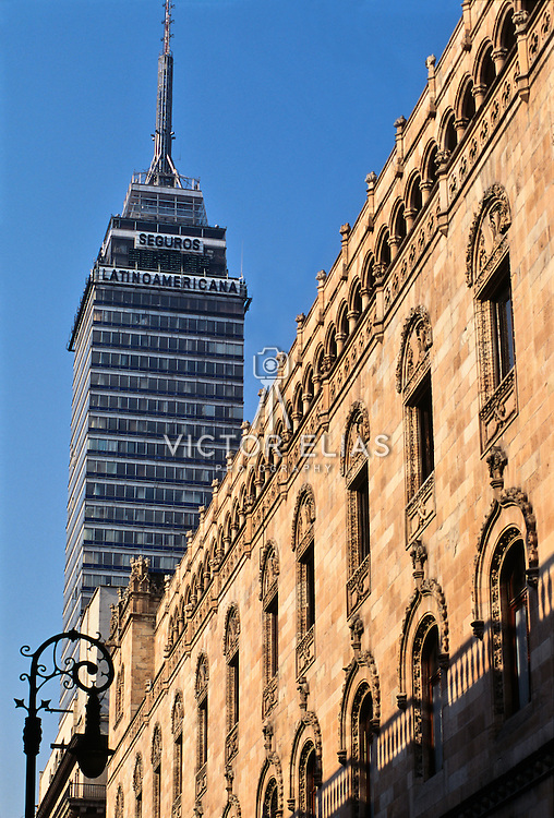 Latinoamericana Tower and the post office building in Mexico city.