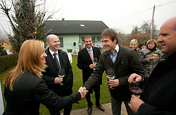 Alenka Popp Vogelnik of Jelovica d.d.,  Gregor Bencina, general manager of Jelovica d.d., Ales Ekar of Jelovica d.d., Andraz Kopac of SZS and Borut Farcnik at opening ceremony of rebuilded T. Gregorin's house after she moved from Ihan, on November 10, 2011, in Hotemaze at Kranj, Slovenia. (Photo by Vid Ponikvar / Sportida)