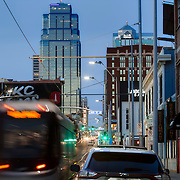 Downtown Kansas City and streetcar line along Main St.