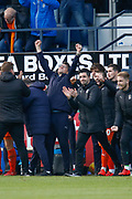 CHAMPIONS Luton Town manager Mick Harford celebrating as the final whistle is blown in the EFL Sky Bet League 1 match between Luton Town and Oxford United at Kenilworth Road, Luton, England on 4 May 2019.
