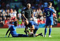 Oumar Niasse of Cardiff City picks up a minor injury- Mandatory by-line: Nizaam Jones/JMP - 21/04/2019 -  FOOTBALL - Cardiff City Stadium - Cardiff, Wales -  Cardiff City v Liverpool - Premier League