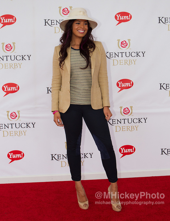 American Idol winner Jordin Sparks appears at the Kentucky Derby in Louisville, Kentucky..Photo by Michael Hickey