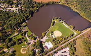 Aerial photograph of Lake Leota and Lake Leota Park in Evansville, Wisconsin, USA.