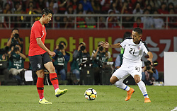 September 7, 2018 - Goyang, Gyeonggi, South Korea - September 7, 2018-Goyang, South Korea-Son Heungmin of South Korea and Jimmy Marin of Costa Rica action on the field during an Football A Match South Korea vs Costa Rica at Goyang Sports Complex in South Korea. Match Won South KOrea, Score by 2-0. (Credit Image: © Ryu Seung-Il/ZUMA Wire)