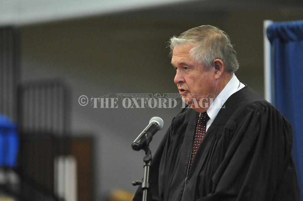 Judge Glen Davidson speaks during a Naturalization Ceremony in U.S. District Court for the Northern District of Mississippi, at Oxford High School in Oxford, Miss. on Tuesday, November 18, 2014. The ceremony was the first the court has ever held at the school.