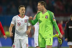 March 21, 2019 - Vienna, Austria - Tomasz Kedziora and Maciej Szczesny of Poland celebrate during the UEFA European Qualifiers 2020 match between Austria and Poland at Ernst Happel Stadium in Vienna, Austria on March 21, 2019  (Credit Image: © Andrew Surma/NurPhoto via ZUMA Press)