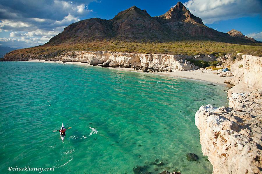 Sea kayaker on the Gulf of California at Isla Carmen near Loreto Mexico model released
