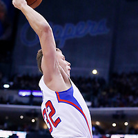 15 April 2014: Los Angeles Clippers forward Blake Griffin (32) goes for the dunk during the Los Angeles Clippers 117-105 victory over the Denver Nuggets at the Staples Center, Los Angeles, California, USA.